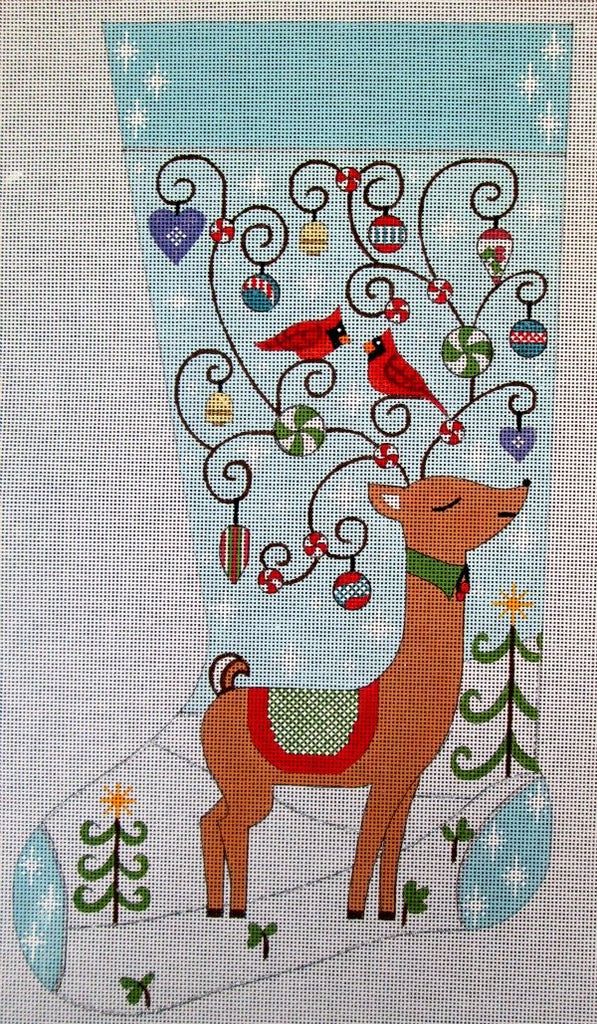 Reindeer in Snow Needlepoint Stocking - Canvas Only