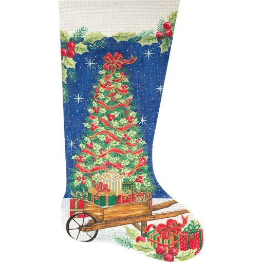 Needlepoint Christmas Stocking Tree & Wheelbarrow  - Canvas Only
