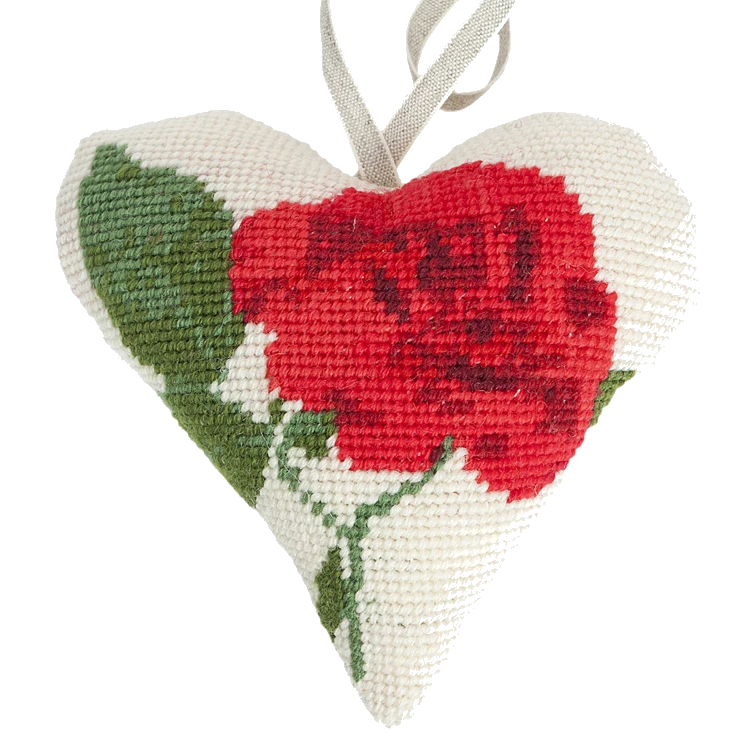 Needlepoint Heart Ornament Kit Rose