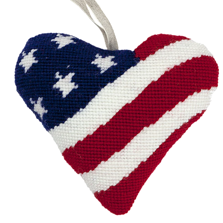 Needlepoint Heart Ornament Kit Stars and Stripes