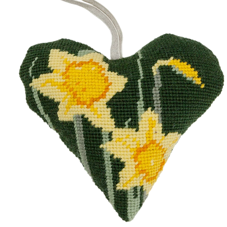 Needlepoint Heart Ornament Kit Daffodils