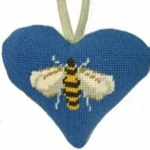 Needlepoint Ornament Heart Bee