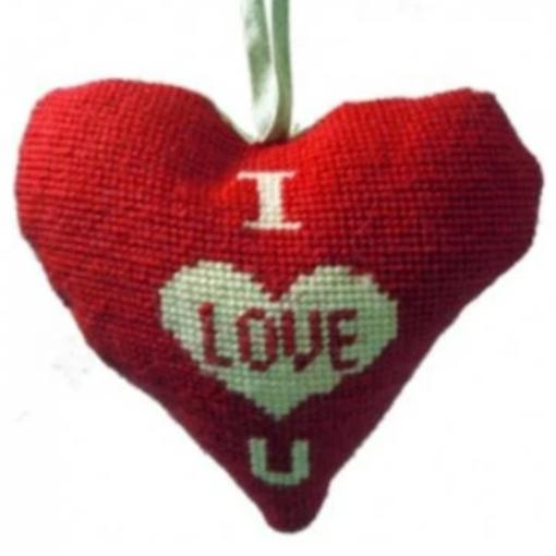 Needlepoint Ornament Heart I Love You