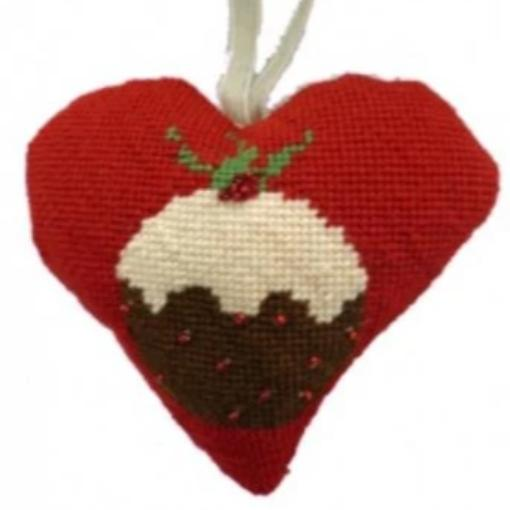 Needlepoint Ornament Heart Christmas Pudding