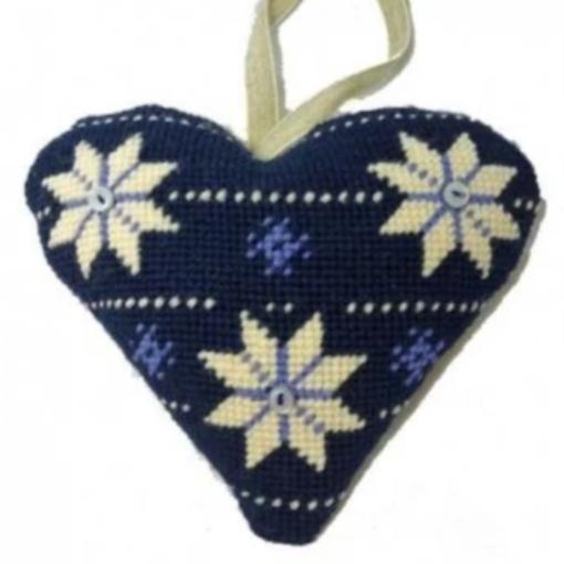 Needlepoint Ornament Heart Scandinavian Christmas