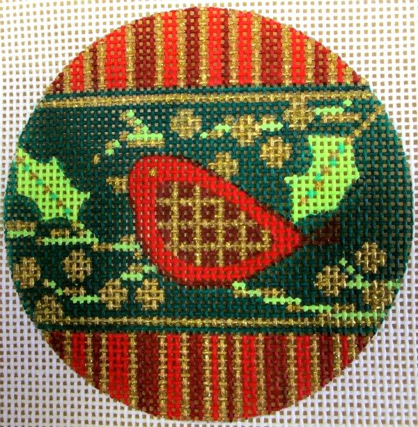 Needlepoint Ornament Bird Stripe - Canvas Only