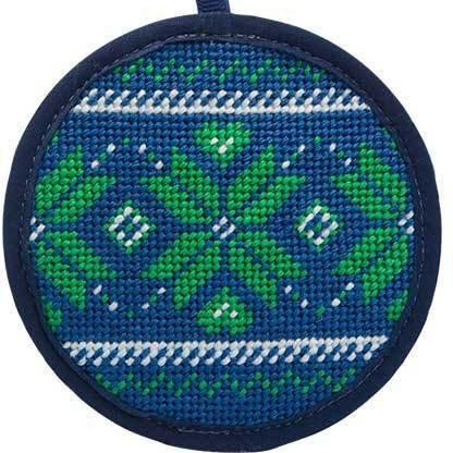 fair isle blue christmas needlepoint ornament kit
