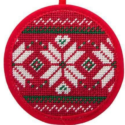 fair isle red needlepoint christmas ornament
