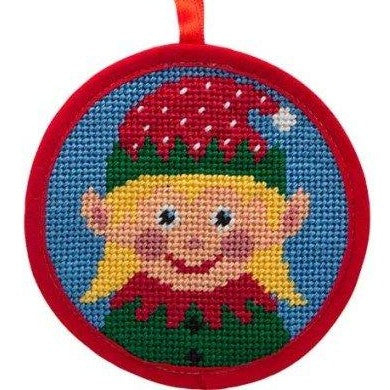 girl elf needlepoint christmas ornament kit