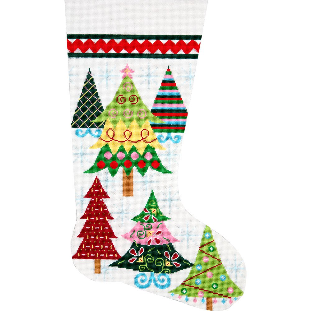 Needlepoint Stocking Kit Merry Christmas Trees