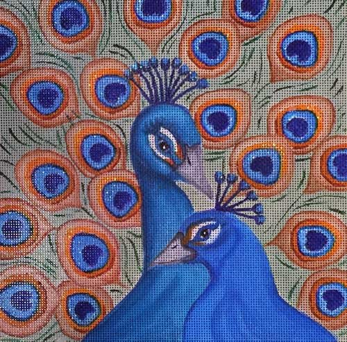 Nenah Stone Needlepoint<BR>Peacocks - Canvas Only