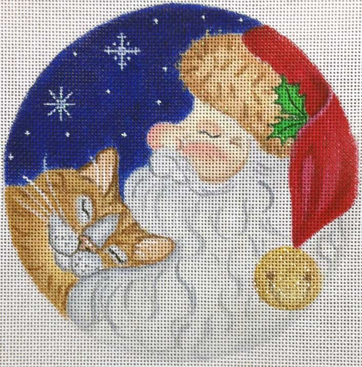 Needlepoint Christmas Ornament Sleeping Santa - Canvas Only