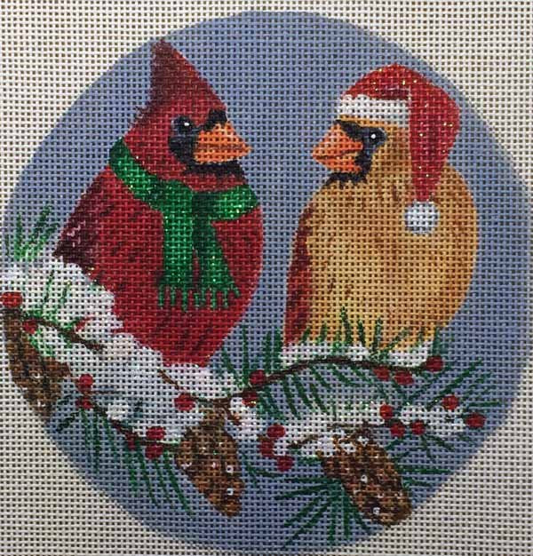 Needlepoint Christmas Ornament Cardinals - Canvas Only