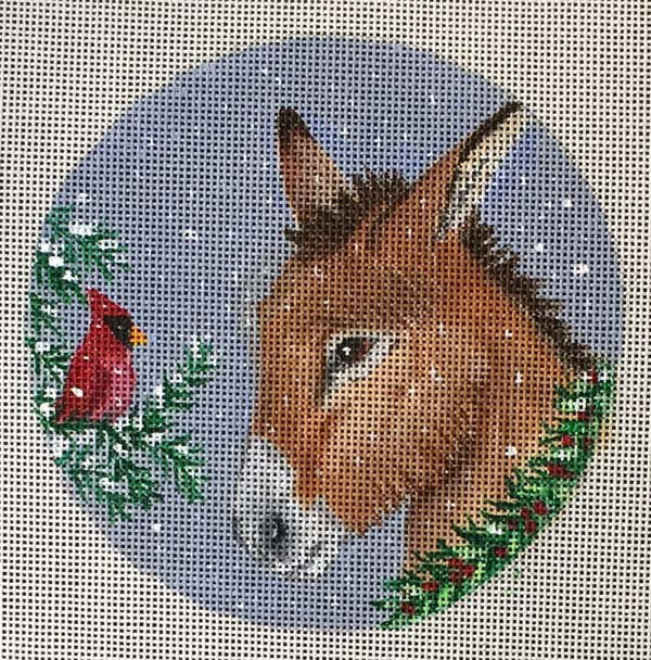 Needlepoint Christmas Ornament Cardinal & Donkey - Canvas Only