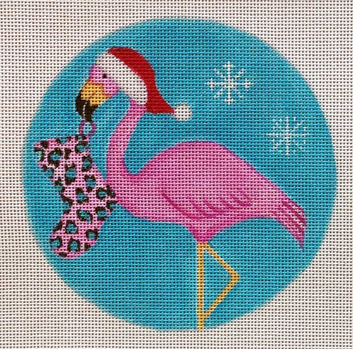 Needlepoint Christmas Ornament Tropical Pink - Canvas Only