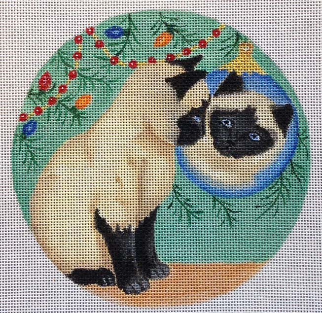 Needlepoint Christmas Ornament Reflection - Canvas Only