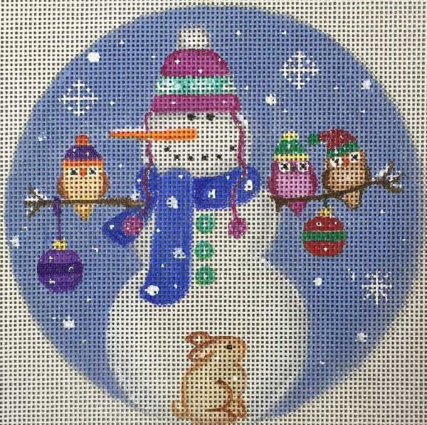 Needlepoint Christmas Ornament Snowy Perch - Canvas Only