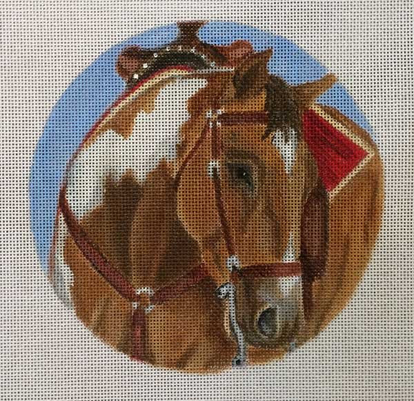 Needlepoint  Ornament Western Saddle Horse - Canvas Only