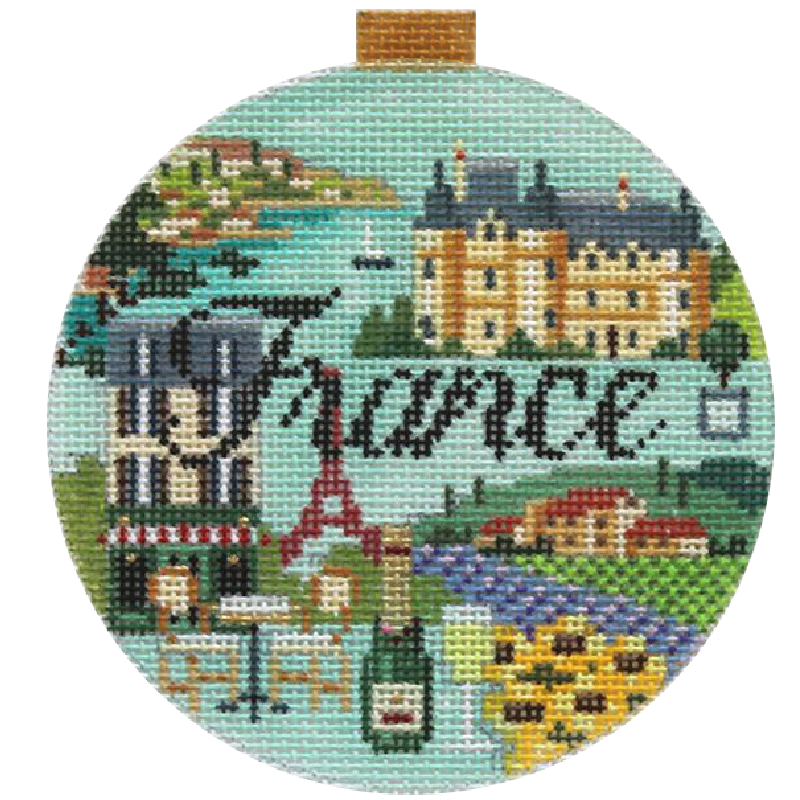 France Needlepoint Travel Round