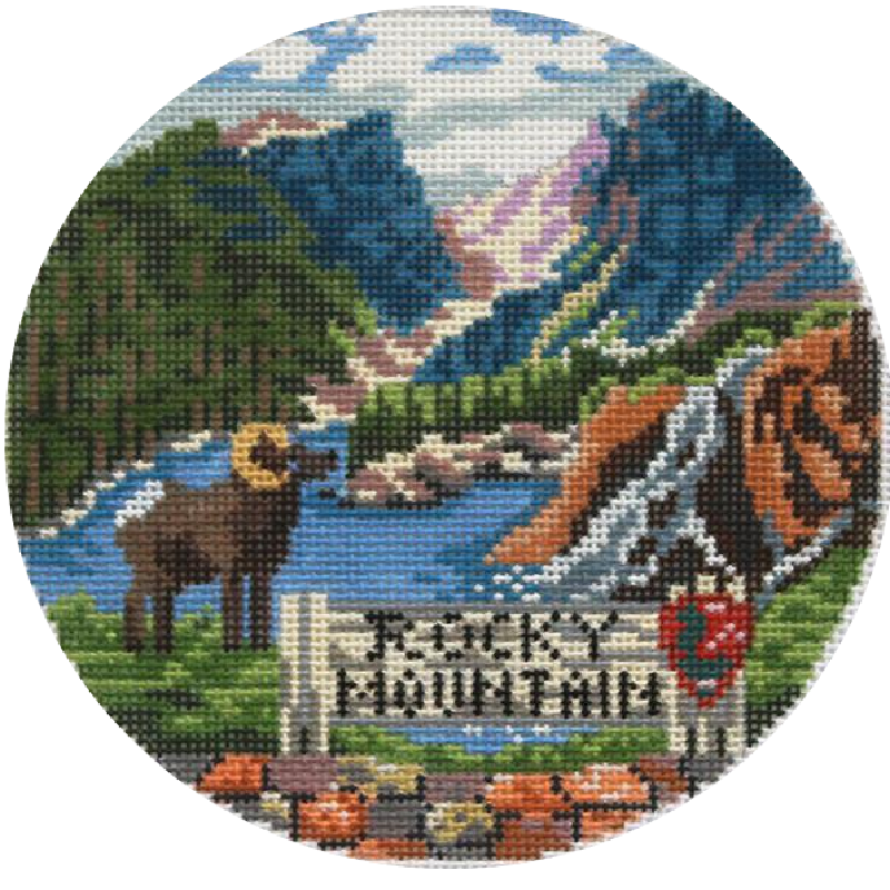 Rocky Mountains Needlepoint Ornament