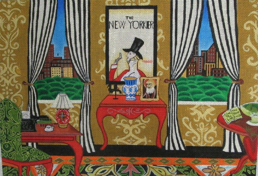 The Writer's Room Handpainted Needlepoint - Canvas Only