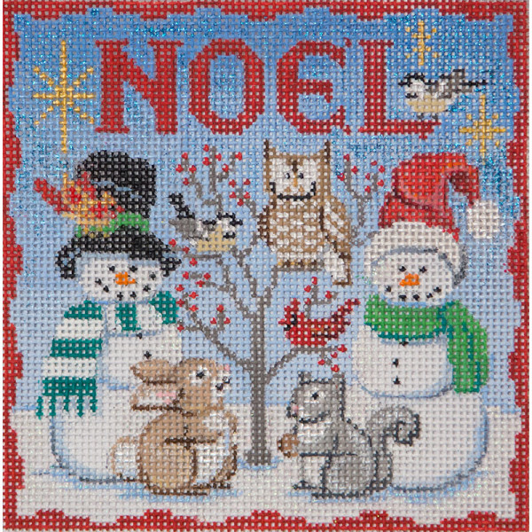 Noel Cardinals and Owls needlepoint by Alice Peterson