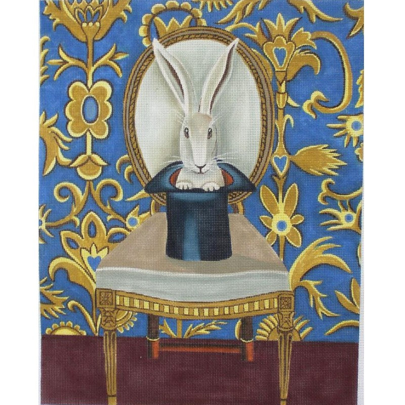 Catherine Nolin needlepoint White Rabbit.