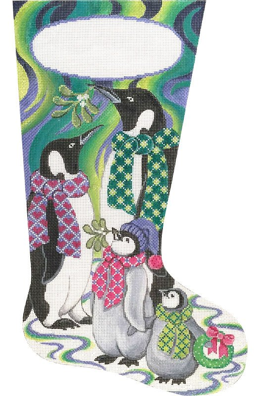Northern Lights Penguin Stocking - Canvas Only