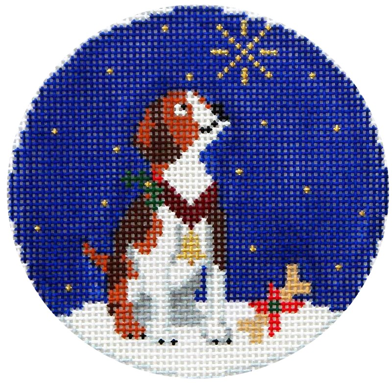 Midnight Beagle Needlepoint Ornament