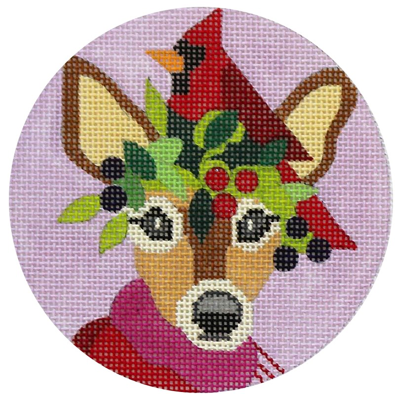 Deer and Cardinal Needlepoint Ornament