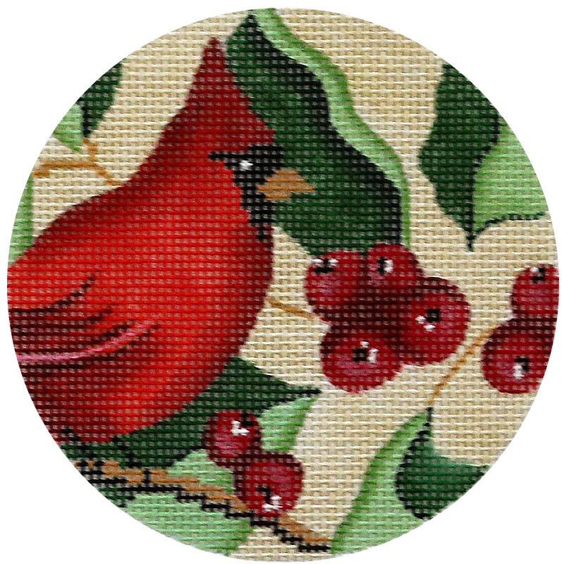 Cardinal & Berries Needlepoint Ornament