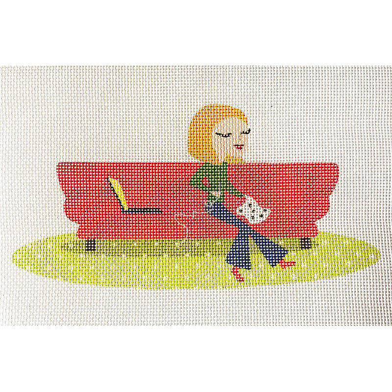 Groovy Girl on Red Couch
