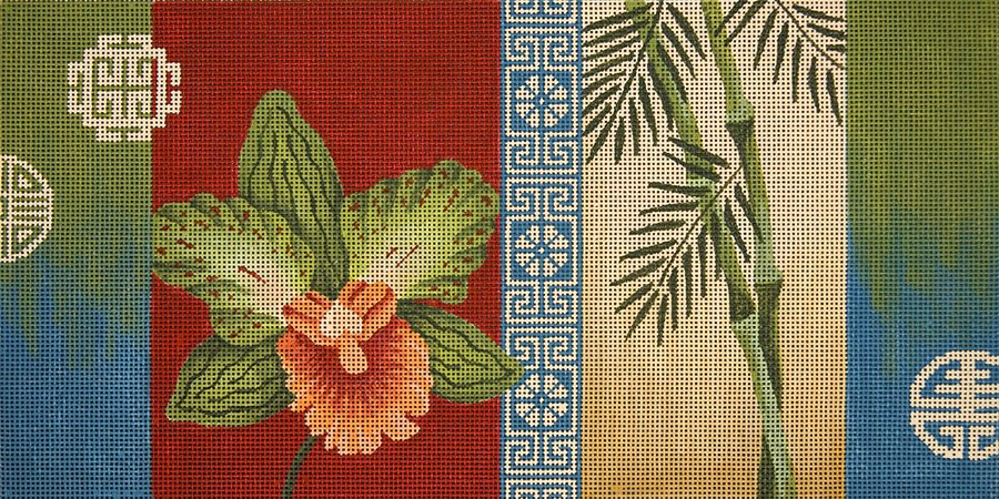 Orchid Bamboo and Coins - Canvas Only