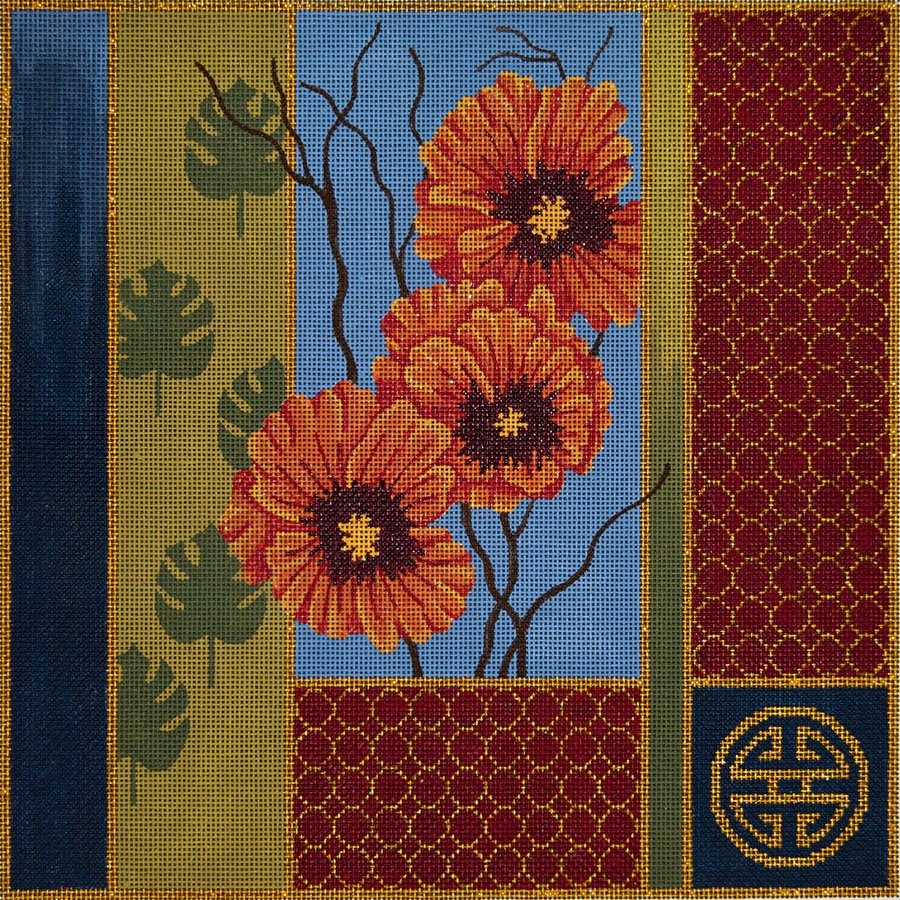 Oriental Poppies and Palm Leaves - Canvas Only