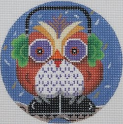 Owl with ear muffs ornament - Canvas Only