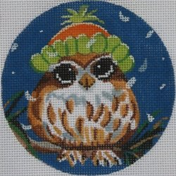 Owl in snow cap ornament  - Canvas Only
