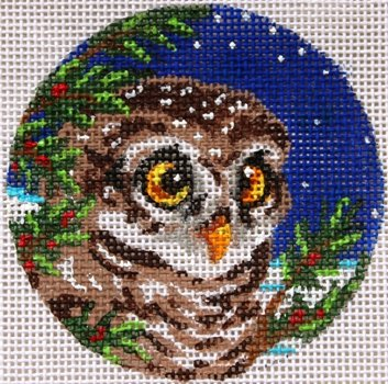 Owlet needlepoint ornament - Canvas Only