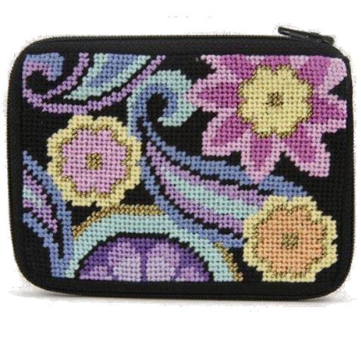 Paisley needlepoint coin purse stitch and zip