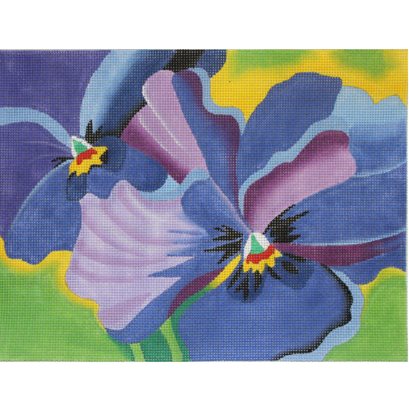 Pansies Blue needlepoint by Julie Mar