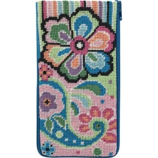 Stitch /& Zip Eyeglass Case Needlepoint Kit Fun Floral