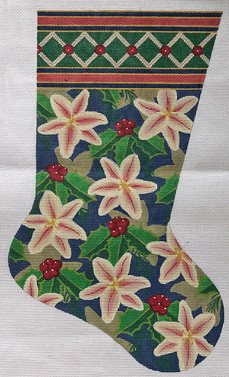 Needlepoint Christmas Stocking Poinsettias