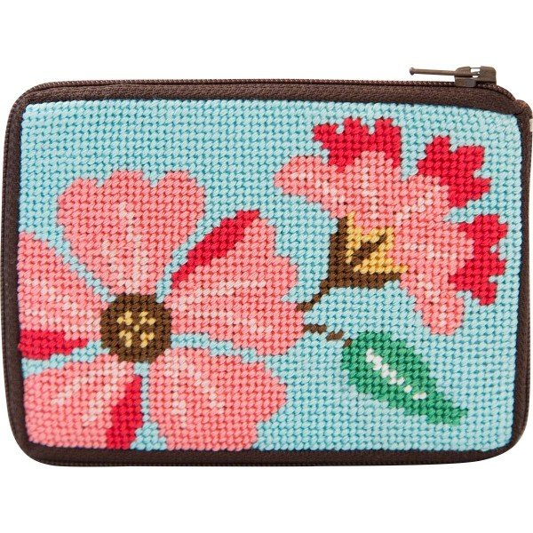 Stitch & Zip Needlepoint Purse Pink Flowers