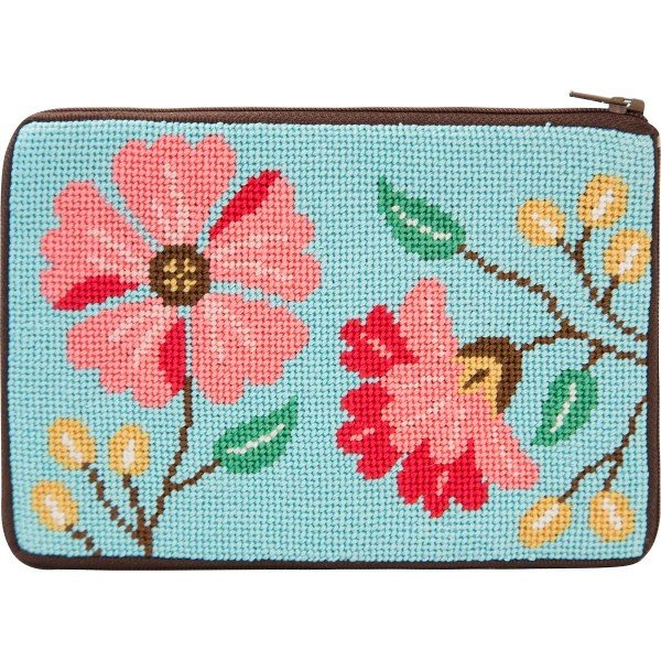 Stitch & Zip Needlepoint Cosmetic Purse Pink Flowers