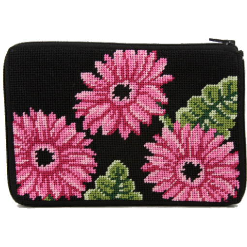 pink gerber daisy needlepoint purse by stitch and zip