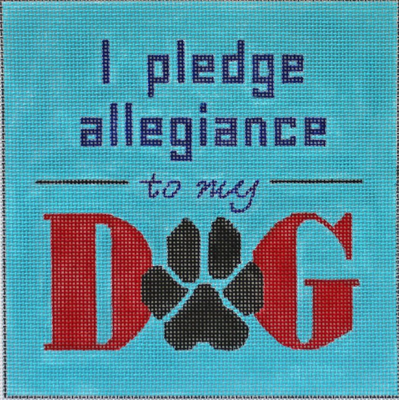 I Pledge Allegiance To My Dog needlepoint by Julie Mar