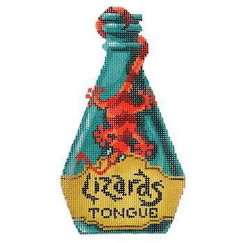 Poison bottle Lizard's tongue Halloween needlepoint  - Canvas Only