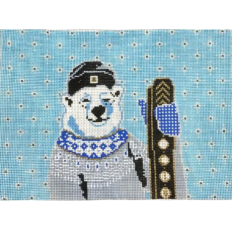 Polar Bear With Skis Needlepoint by Thorn Alexander.