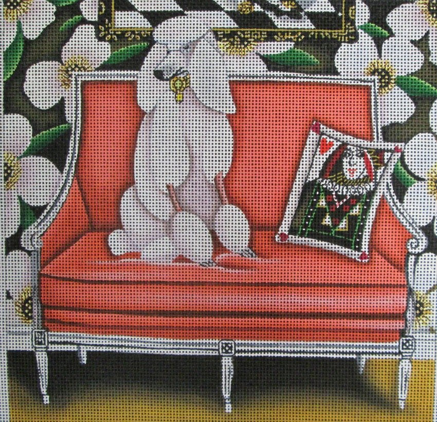 White Poodle Needlepoint Off The Couch - Canvas Only