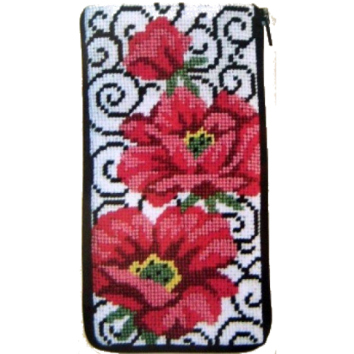 poppy on scrolls needlepoint eyeglass kit