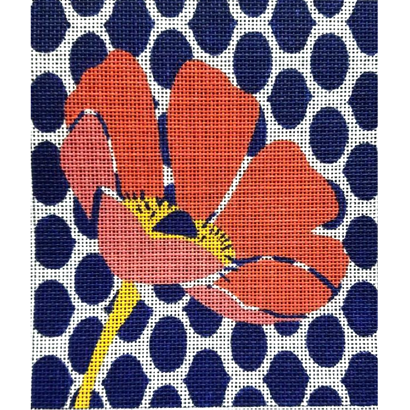 Preppy Poppy contemporary needlepoint design by Julie Mar